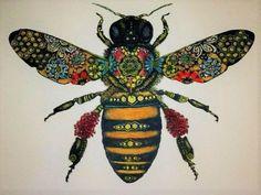 A honey bee from Solwind Art. I Love Bees, Tatoo Art, Doodle Tattoo, Bee Art, Bee Design, Bees Knees, Bee Keeping, Queen Bees, Art Plastique