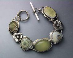 Bracelet | Temi Kucinski. Sterling silver, ocean jaspers, green prehnite and a carved jade
