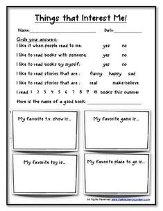 BackToSchool Reading Interest Survey  Reading Interest Survey