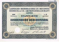 Leipziger Bierbrauerei zu Reudnitz Riebeck & Co. AG, Leipzig, hist. Aktie, 1933