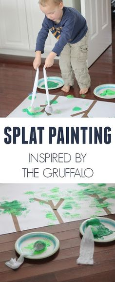 Toddler Approved: Splat painting Inspired by The Gruffalo by Julia Donaldson! Such a fun way to paint! Gruffalo Eyfs, Gruffalo Activities, Preschool Science Activities, The Gruffalo, Painting Activities, Fun Activities For Kids, Creative Activities, Preschool Art, Book Activities