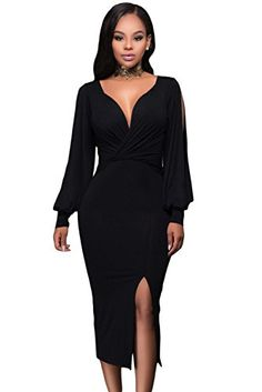 ecac9fc886a6 OUR WINGS Women Fashion Black Deep V Neck Ruched Bodice Slit Sleeves Midi  Dress L *