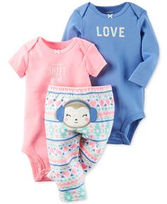 Soft hues and pretty prints lend lovely appeal to this three-piece Carter's set, featuring two graphic bodysuits and a pair of pull-on pants finished with a bear applique. | Bodysuits and pants: cotto