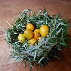 What to do with all that rosemary, make a nest! Fill with some grape tomatoes,give as a gift from the garden this summer!