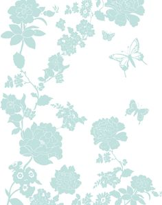 Pretty Flower, Duck Egg Blue - Sample