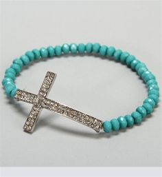 Turquoise Beaded Cross Bracelet