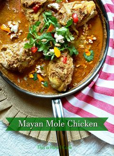 This simple chicken, with a mole type sauce made with almonds and pumpkin seeds, and a touch of cocoa and chiles, is the easiest mole you will find! And so good! #chickenrecipes #molechicken #mexicanrecipes #mole Jewish Recipes, Mexican Food Recipes, Ethnic Recipes, Best Chicken Recipes, Pasta Recipes, Breast Recipe, Easy Dinner Recipes, Dinner Ideas, Slow Cooker Chicken