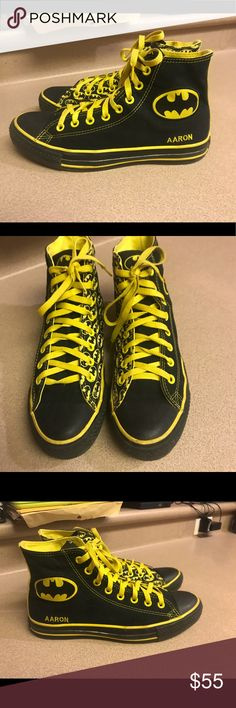 8fba52655 PreOwned Converse DC Comics Batman Men s PreOwned Converse All Star DC  Comics Batman Yellow Black Hi Too Men s Converse Shoes Sneakers