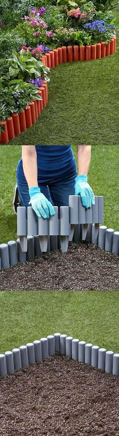 68 Lawn Edging Ideas That Will Transform Your Garden DIY Lawn Edging Ideas For Beautiful Landscaping: Painted PVC Stakes Around Flower Garden Lawn Edging, Garden Edging, Garden Borders, Lawn And Garden, Diy Garden, Garden Ideas, Edging Ideas, Landscape Edging, Backyard Landscaping