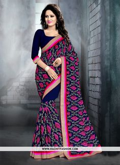 Stand out from the rest of the crowd wearing this beautiful Georgette Saree in blue colour.