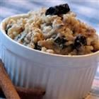 Brown Rice Breakfast Porridge (with dried blueberries). A favorite comfort food breakfast--even the toddler loves it.