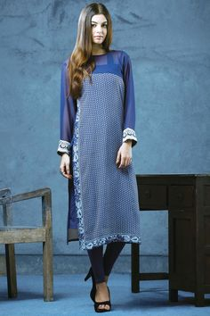 Ink #blue & #white calf length straight cut #ravishing #kurti with boat #neck -SL3787 - #Tunics & #Kurtis #latest #new #pattern #leggings #gorgeous #glam #look #sexy #diva #ravishing #dazzling #mesmerizing #elegant #pretty #fabulous