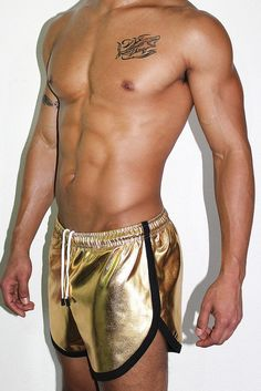 405dff4ad8c00 Gold Metallic Athletic Shorts- Gold