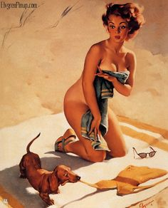 pin-up by gil elvgren | Gorgeous 1950s pin up art by Gil Elvgren of a girl on the beach having ...