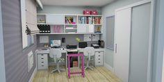 Home Office Mesa com tampo de vidro e cavalete rosa Projeto: Alessandra Onofri