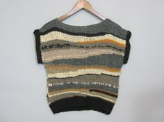 Handknit striped t-shirt, cropped t shirt, backless, scoop back,  black and gold knit top, vest, wool short sleeve sweater,. $162.00, via Etsy.