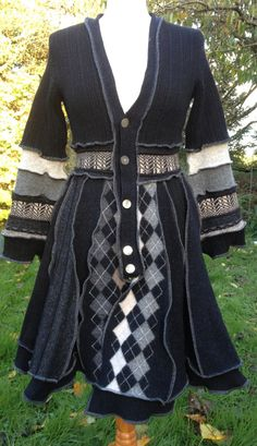 Upcycled Black and Grey Sweater Coat. Mother of pearl style button band full skirt Ethical fashion Quality recycled wool knitwear. UK Seller...