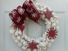 Christmas wreath Christmas burlap wreath by ChloesCraftCloset