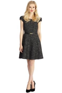 Grey Boucle Vintage Looking Fit and Flare Dress