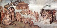 """Michel-Ange - """"Le Déluge"""" - Fresque du plafond de la chapelle Sixtine (1508-1512) - Cité du Vatican."""