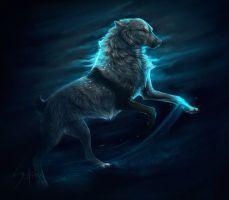 Dance of the night. by Safiru on DeviantArt Anime Wolf, Wolf Spirit, Spirit Animal, Fantasy Wolf, Fantasy Art, Fantasy Creatures, Mythical Creatures, Wolf Character, Wolf Artwork