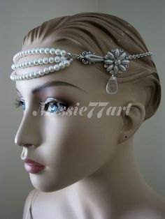 1920's Great Gatsby Inspired Glass Pearl Flapper Wedding Headpiece with Diamante $94.95