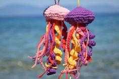 Jellyfish Amigurumi ornaments Crochet Summer decor beach house