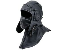 SIBERIA Genuine Leather Pilot Aviator Motorcycle Cap Polar Fleece Cotton Lining Detachable Collar Mask Steampunk Ushanka Trooper Earflap Hat - Topeng - Cool Motorcycle Helmets, Popular Hats, Dockers, Russian Hat, Leather Suspenders, Leather Collar, Cold Weather Gear, Leather Baseball Cap, Denim Top