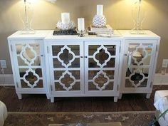 White quatrefoil mirrored sideboard