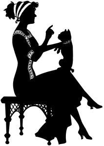 free vintage image ~ silhouette of lady, balancing a small dog on her knee