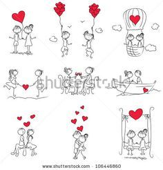 stock vector : cartoon couple doodle with red heart shape