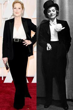 Meryl Streep's chic Lanvin tuxedo pays homage to a classic Marlene Dietrich suit.   - HarpersBAZAAR.com
