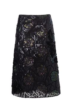 Shop Forest And Charcoal Beautiful Lotus Sequin Embroidered Skirt by Marc Jacobs for Preorder on Moda Operandi