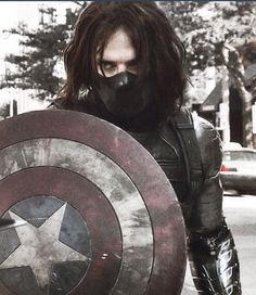 Bucky with Steve's shield (foreshadowing the future occurrence of Bucky becoming the new Captain America). Bucky Barnes, Sebastian Stan, Loki, Marvel Avengers, Marvel Comics, The Dark Side, James Barnes, Winter Soldier Bucky, Bucky And Steve
