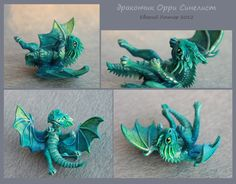 Fantasy Baby Dragon - One Of A Kind Polymer Clay Sculptures   Dragons
