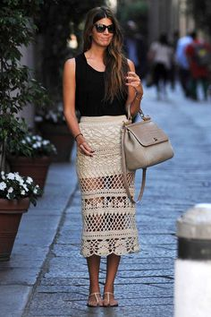Bianca Brandolini . 100% Formentera. Crochet skirt + black top
