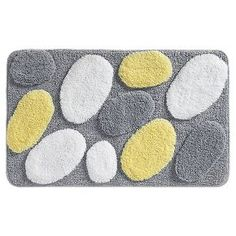 "InterDesign Microfiber Rectangular Pebblz Rug - Gray/Yellow, 34"" x 21"""