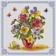 downloaded. A Thousand Pansies. This pattern is from a site that has really easy to download embroidery patterns for free.                                                  It's http://cross-stitchers-club.com/?code_avantage=uucqid.   Plus, if you click on this link, you'll automatically receive a gift when you subscribe. I use this site all the time; there are hundreds of all different types of patterns, and there are new patterns added everyday. It's really worth a look.
