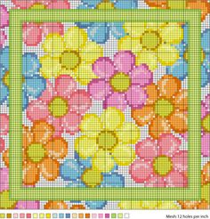 August Daisies Needlepoint Pattern - Daisy Needlepoint Chart. Or cross stitch.