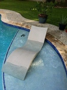 Designed for 6 – 8 inches of water, this stylish lounge chair by Ledge Lounger comes in 11 different colors: white, gray, dark blue, light blue, green, red, orange, tan, and purple, as well as sandstone and granite, which have a subtle textured effect. http://www.luxurypools.com/blog/entryid/107/in-pool-chaise-lounges-designed-for-tanning-ledges.aspx#