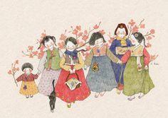 Belle And Boo, Gatos Cats, Korean Artist, Book Girl, Cute Images, Children's Book Illustration, Cute Drawings, Japanese Art, Asian Art