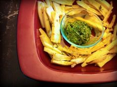 Parsnip Fries with Lamb's Quarter Pesto: Parsnips are beautiful in all their simplicity and also delicious all by themselves made into fries.  Serve them with a bowl of pesto and you've got yourself one stunning side dish (or snack), pleasing to both the eye and palate.  I didn't realize pesto could be made with herbs other than basil until my friend Karen introduced me to this delightful, in-season variety made with lambs quarter and Swiss (or rainbow) chard.
