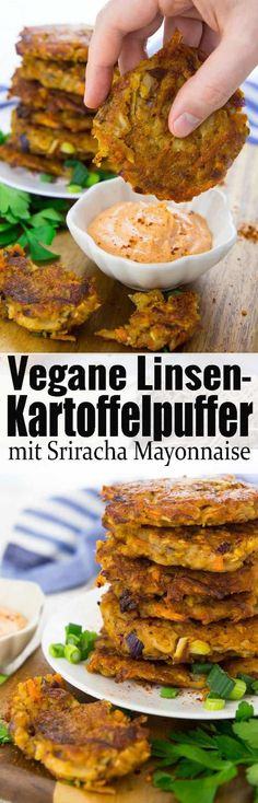 Potato pancakes vegan and super easy - Kartoffelpuffer vegan und super einfach Super delicious and easy recipe for vegan potato pancakes with red lentils! A delicious and simple dinner! More vegetarian recipes and vegan recipes on veganheaven. Whole Food Recipes, Cooking Recipes, Fun Cooking, Healthy Cooking, Cooking Tips, Potato Fritters, Broccoli Fritters, Vegetarian Recipes, Healthy Recipes