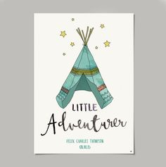 Every little one likes an adventure!This teepee nursery print is hand illustrated and digitally coloured. It would make a lovely gift for a newborn and a name and date of birth can be added at no extra charge! A3 in size and printed on Matte Heavyweight paper 167gsm.I will post your print in an envelope with a stiff board to avoid any folds or creases. The prints also come in a plastic slip.PLEASE ENSURE YOU INCLUDE ALL PERSONALISED INFORMATION IN A SEPARATE EMAIL US...