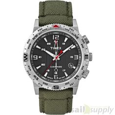 Timex IQ Compass groen canvas band