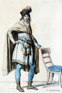 """""""In on official request, David designed a national male costume that combined Renaissance and antique motifs with a tight-fitting tunic, cloak, and classical tights."""" Taken from Lynn Hunt's 'Freedom of Dress in Revolutionary France 19th Century Fashion, 18th Century, Illustration Française, Revolution Clothing, Weather In France, Musee Carnavalet, Visit France, Paris City, Colors"""