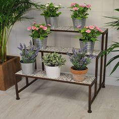 Stylish Ditsy Ceramic Etagere Three Tier Plant Stand