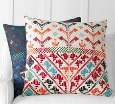 Inspired by traditional embroidery techniques from India, our Naya pillow has…