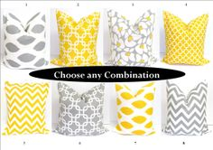 Gray Yellow Pillow SETS.18x18 inch Decorator Pillow Cover.Printed Fabric Front and Back.Cushion Covers