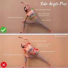 "2,960 Likes, 39 Comments - Yoga and Barre Instructor (@actionjacquelyn) on Instagram: ""HOW TO DO Side Angle Pose Utthita Parsvakonasana (NOTE! The arrow on the top arm in ✅ pic is…"""